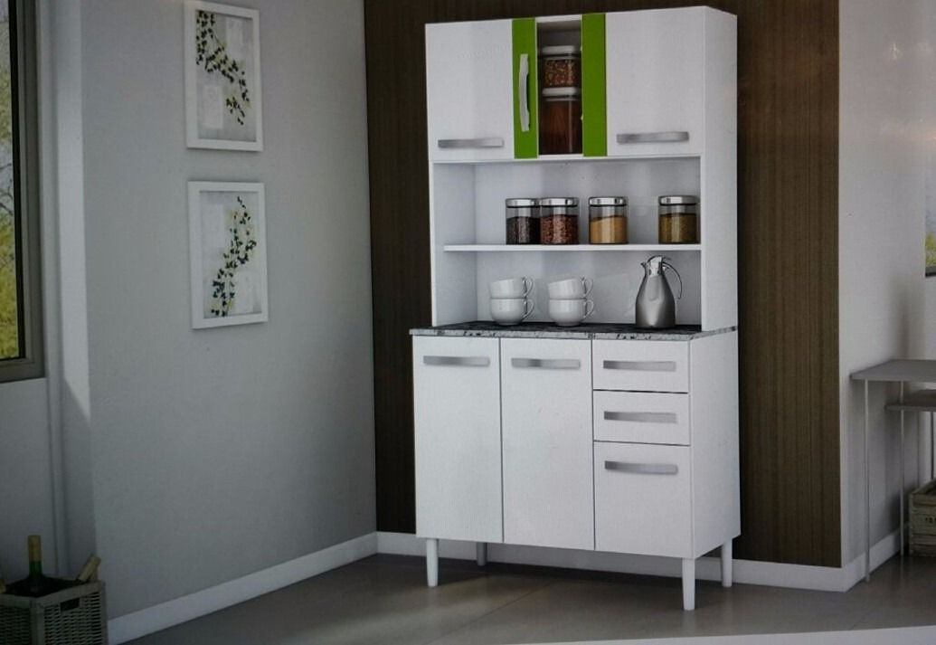 mueble de cocina alacena armario 6 puertas 2 cajones vidrio ...