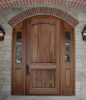 Solid Wood Front Entry Door With Planked Panels Mahogany Walnut