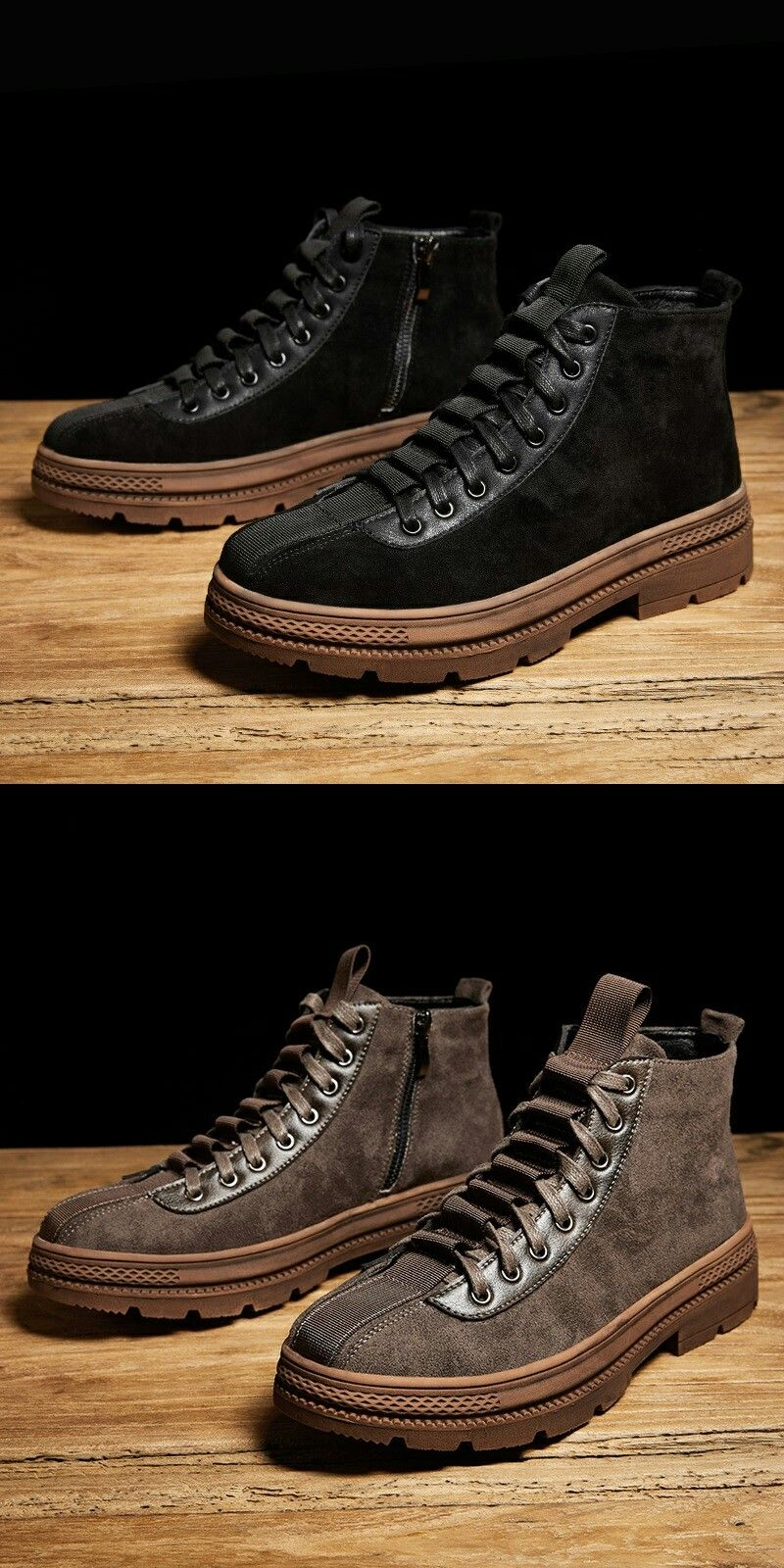 Prelesty Winter Men Desert Boots Formal Autumn Shoes Casual High Top Warm Leather