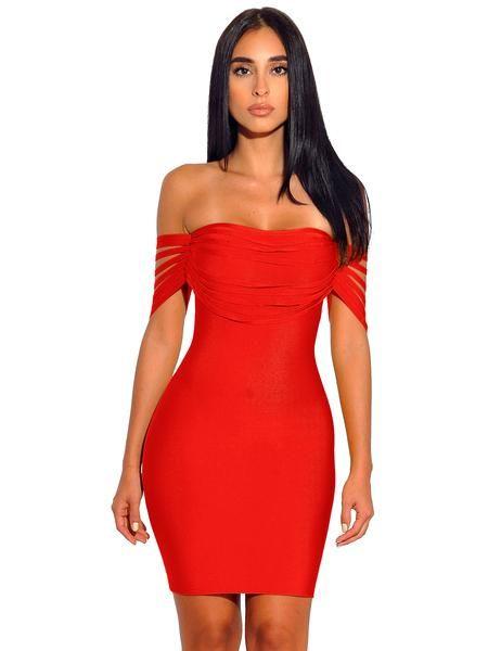 95412ca4f0 Pyria Red Fringe Off Shoulder Bandage Dress in 2019