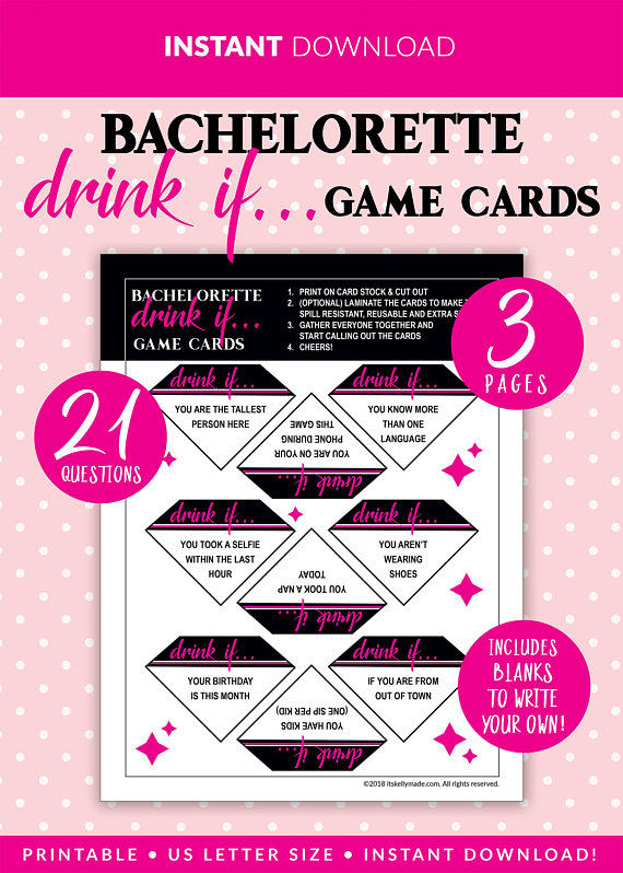 Bachelorette Drink If Cards Party Game Printables Instant