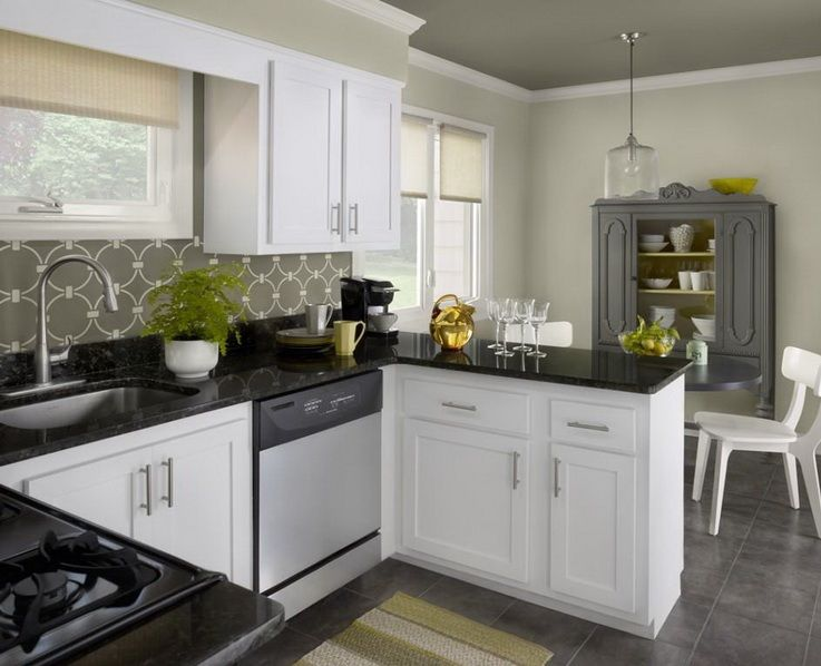 Attractive kitchen color schemes with white cabinets for Kitchen colors with white cabinets with photo to wall art