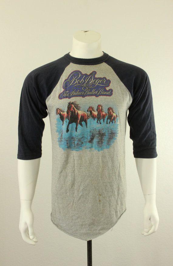 507b36af 80's Bob Seger and The Silver Bullet Band Raglan T-Shirt L XL   SC ...