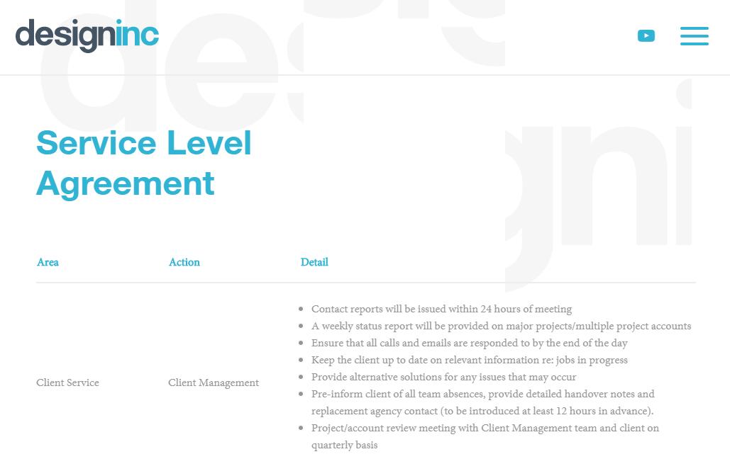 Service Level Agreement Design Inc. Service level