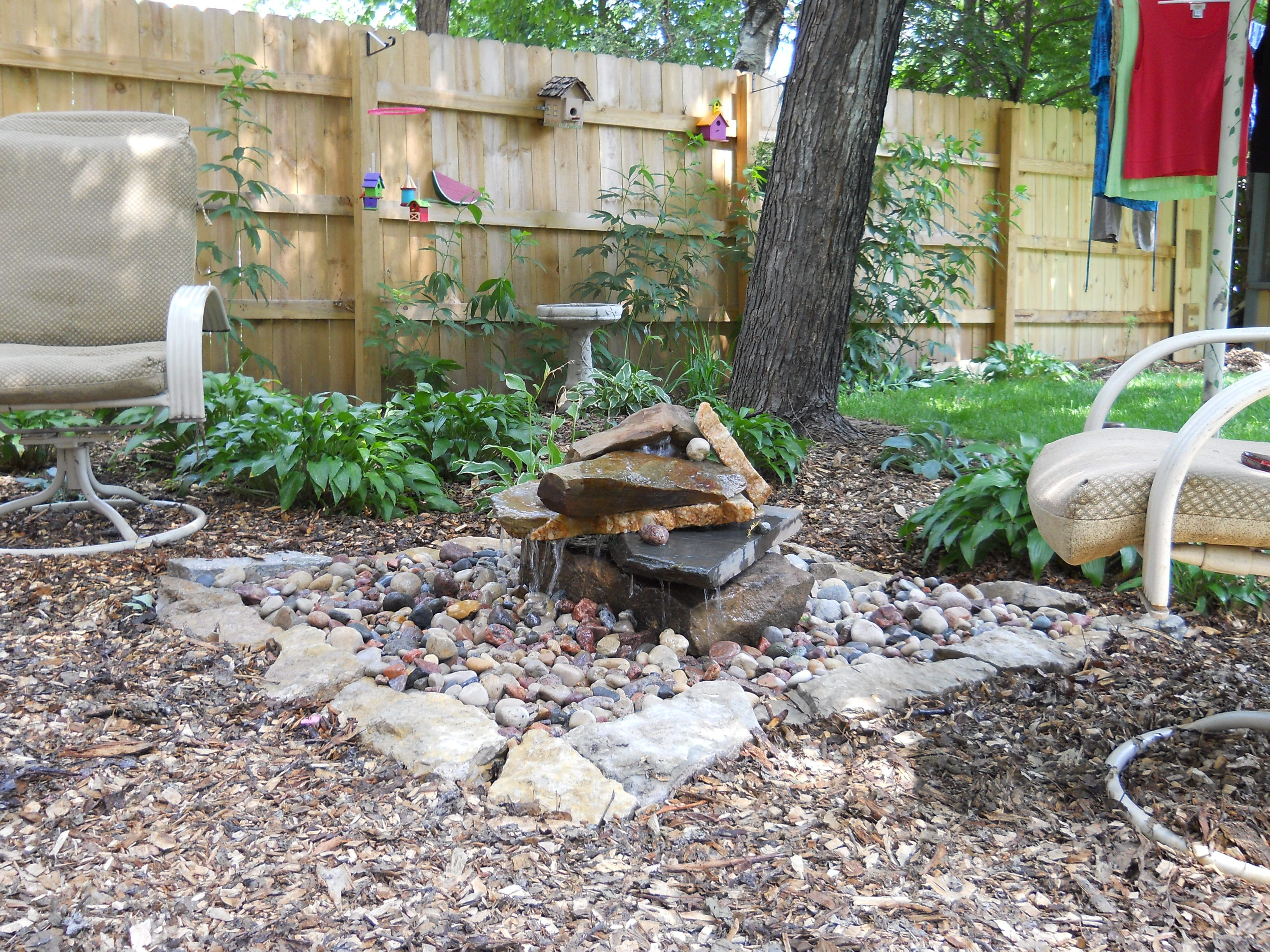 backyard water feature we built using virginia flagstone. this is ... - Kid Friendly Patio Ideas