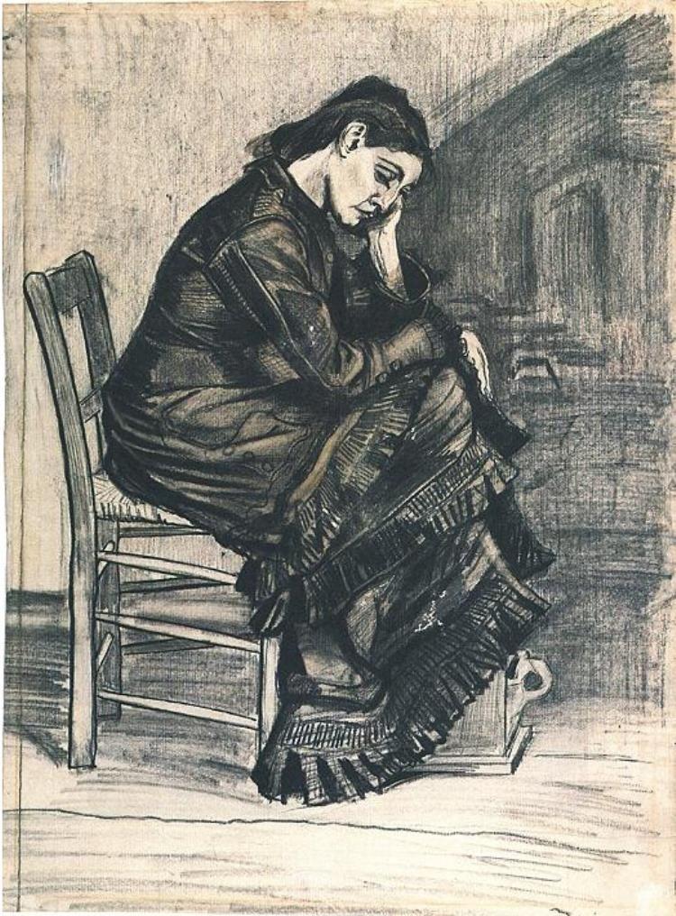 Bent Figure of a Woman (Sien?) by Vincent Van Gogh - 812 van Gogh - Description De La Chambre De Van Gogh