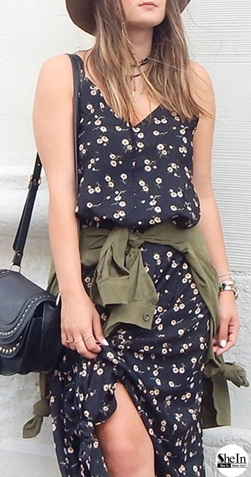 Plunging V Neckline Floral Cami Dress Black Braces Houndstooth
