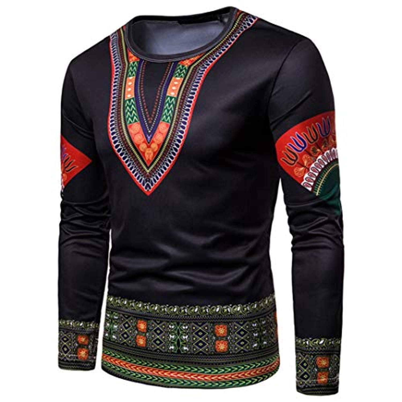 Zimaes-Men Long Sleeve Ethnic Casual Printing Slim Classic Shirt