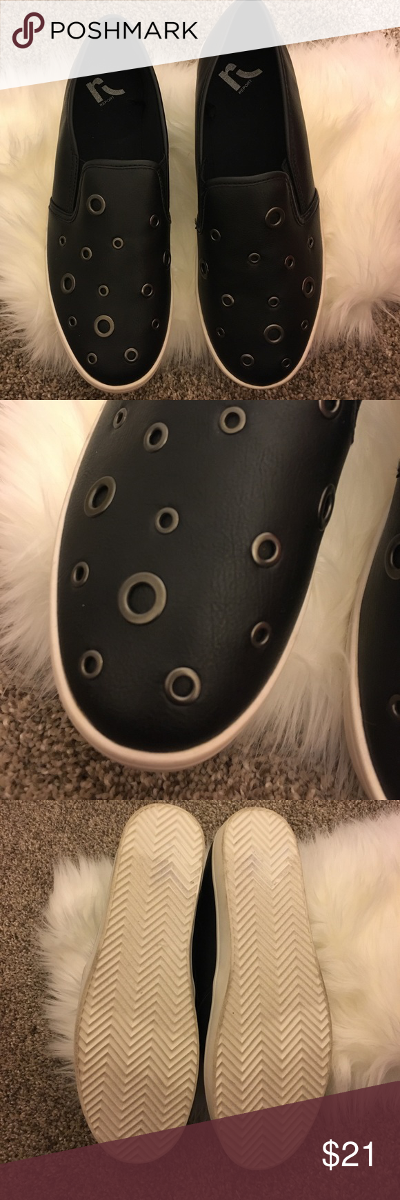 Slip on sneakers with metal ring details New without a box! Scuffs on the white part of the shoe due to being stored with other shoes in a bin! Report Shoes Sneakers
