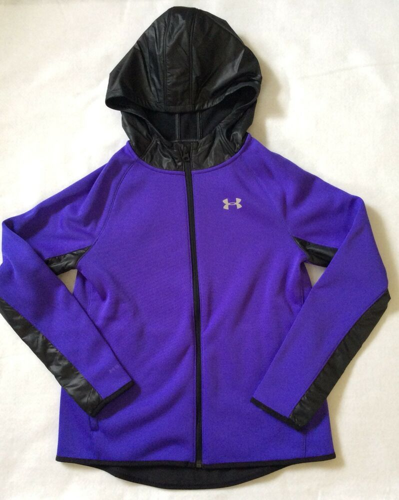 NWT UNDER ARMOUR BOYS RIVAL HUNDO FLEECE ZIP UP HUNDO HOODED JACKET BLACK MULTI