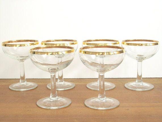 gold rimmed champagne coupes champagne glasses vintage stemware coupe glass vintage. Black Bedroom Furniture Sets. Home Design Ideas