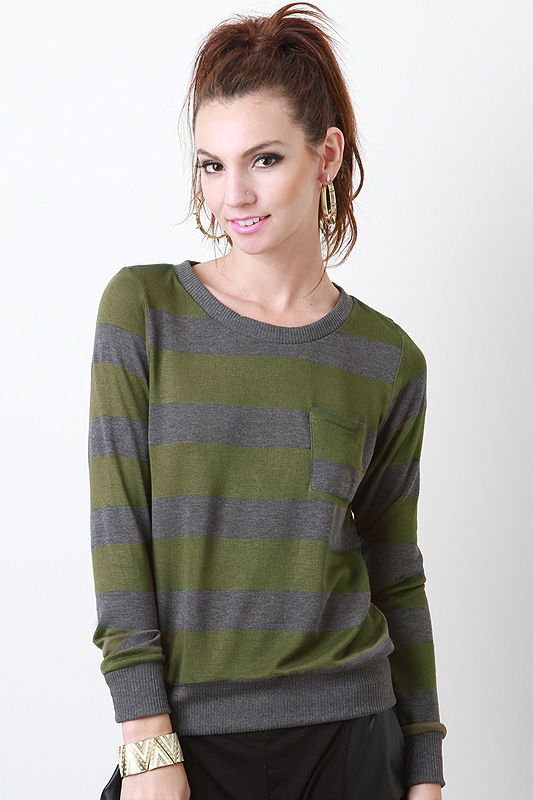 Add essential pieces like this Perfected Lines Top to your wardrobe! This top features soft knit, horizontal stripe design throughout, single breast pocket, long sleeves, rib knit trim, and finished with slight high-low hem.    #urbanog