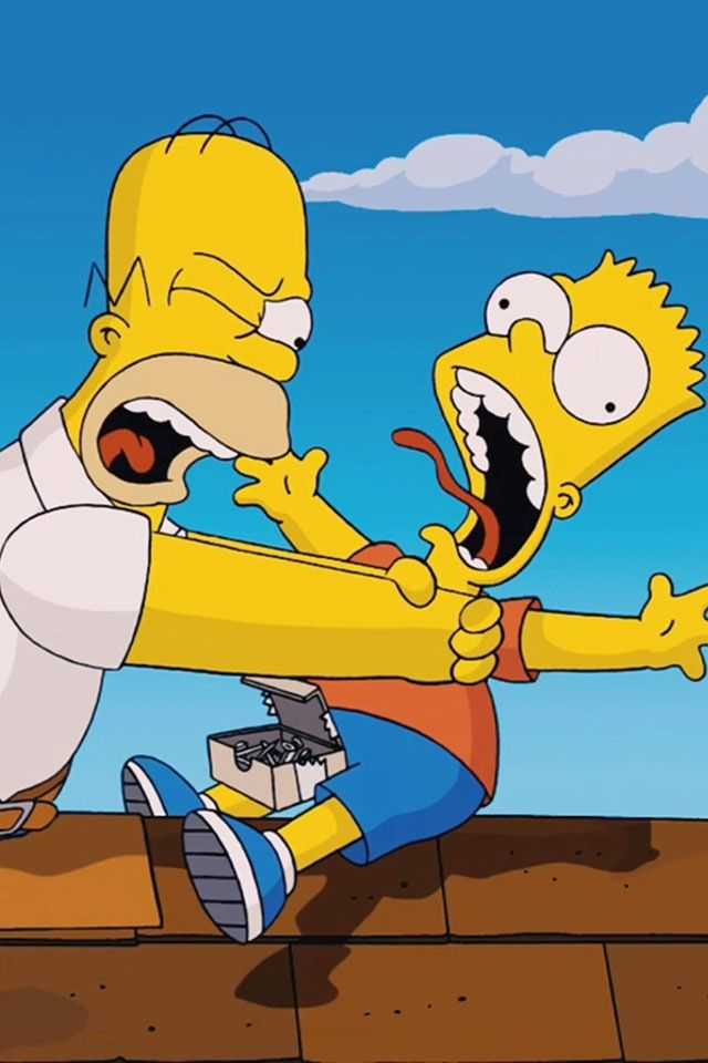 The simpsons movie hahahah homer strangling bart film - Homer simpson and bart simpson ...