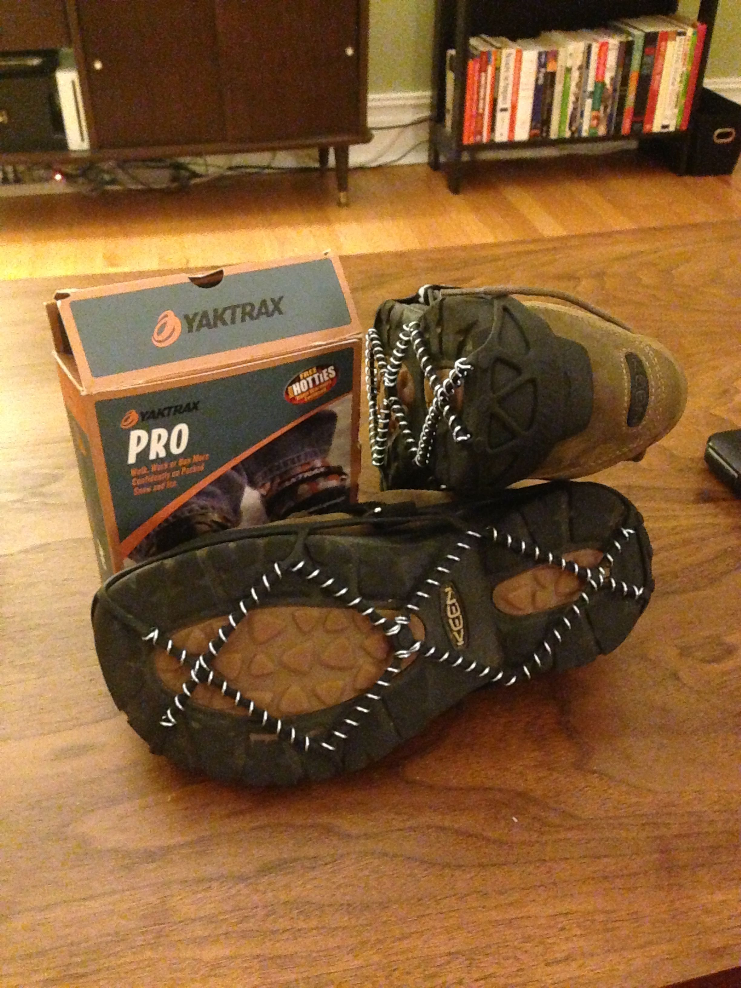 Yaktrax Pro essential for hiking in Glacier National Park in July.