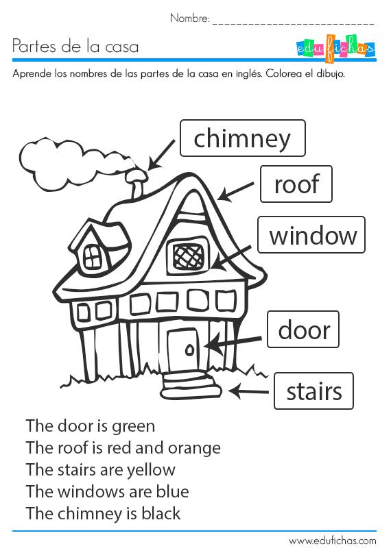 Ficha educativa coloreable para aprender las partes de la casa en ingl s descarga nuestras - Partes de la casa en ingles para ninos ...