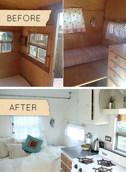 Before After A 1950s Camper Gets A Stylish Overhaul The Only Time All White Is Acceptable More Camper Makeover Remodeled Campers Vintage Camper