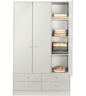 brand new fd1ef 83496 Home Metal and Polycotton Single Wardrobe - Cream | House ...