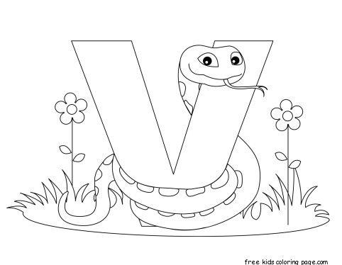Printable Animal Alphabet Letter V is for Viper animal alphabet