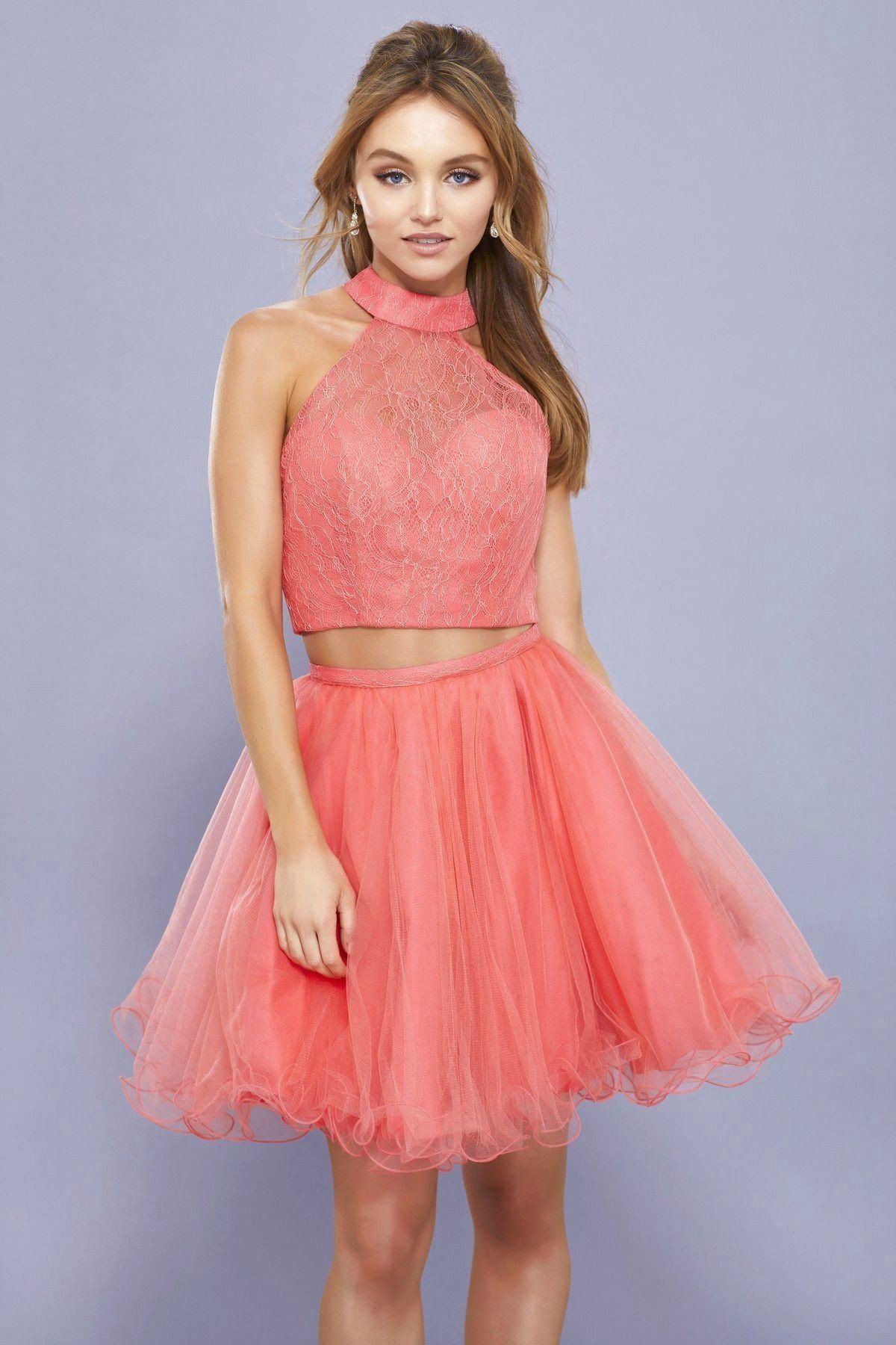 7cfb01f4b3b0 Short Two Piece Dress with Lace Top by Nox Anabel 6354 | Products ...