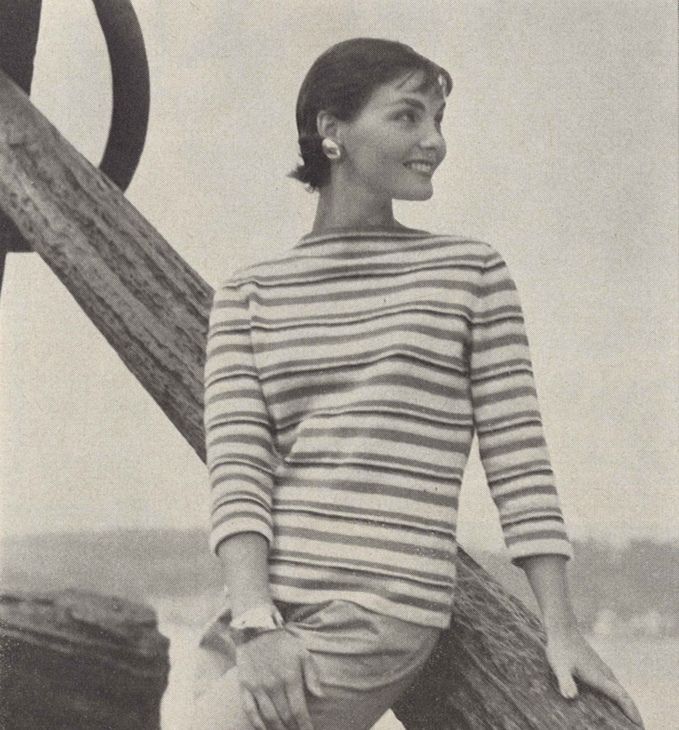 Audrey Stripes • 1950s Knitting Beach Boatneck Top Blouse • 50s ...