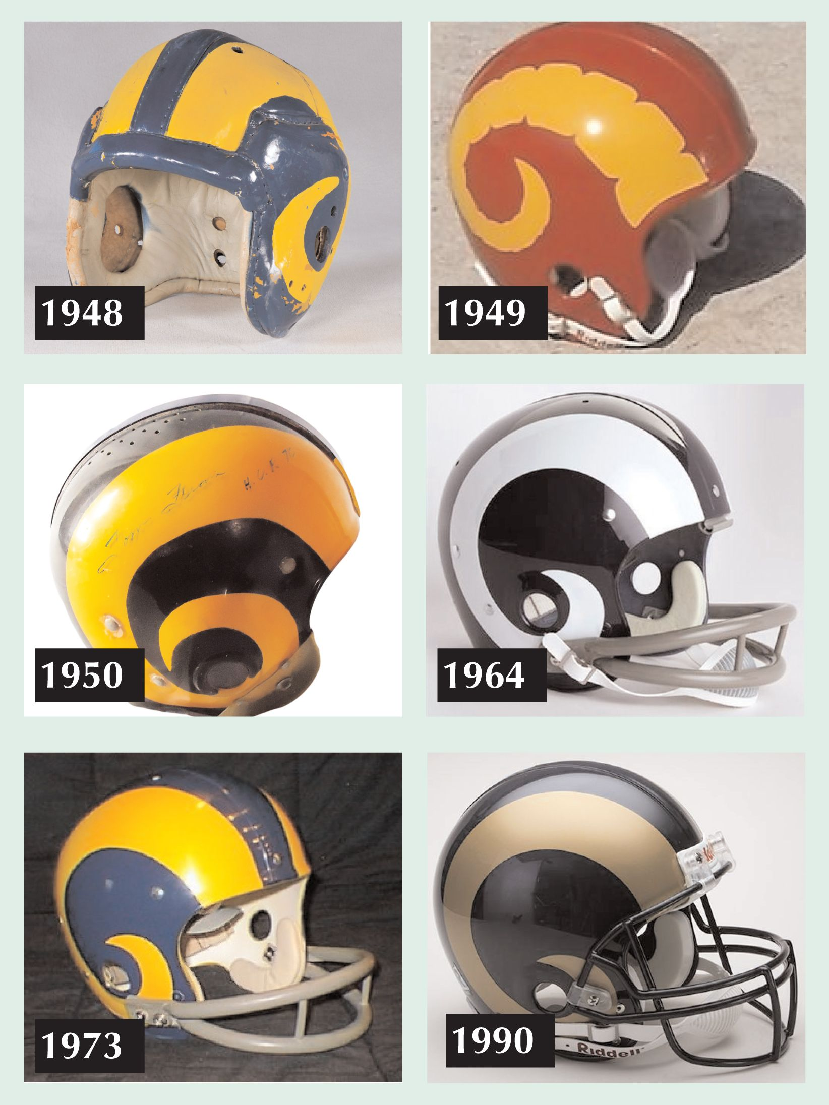 fullback fred gehrke of the cleveland rams designed the first pro helmet with a logo or design in 1948 rams football football helmets nfl football helmets rams football football helmets
