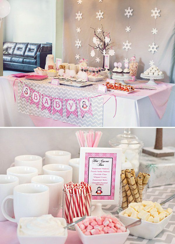 Cozy Pink Penguin Winter Wonderland Baby Shower // Hostess With The Mostess®