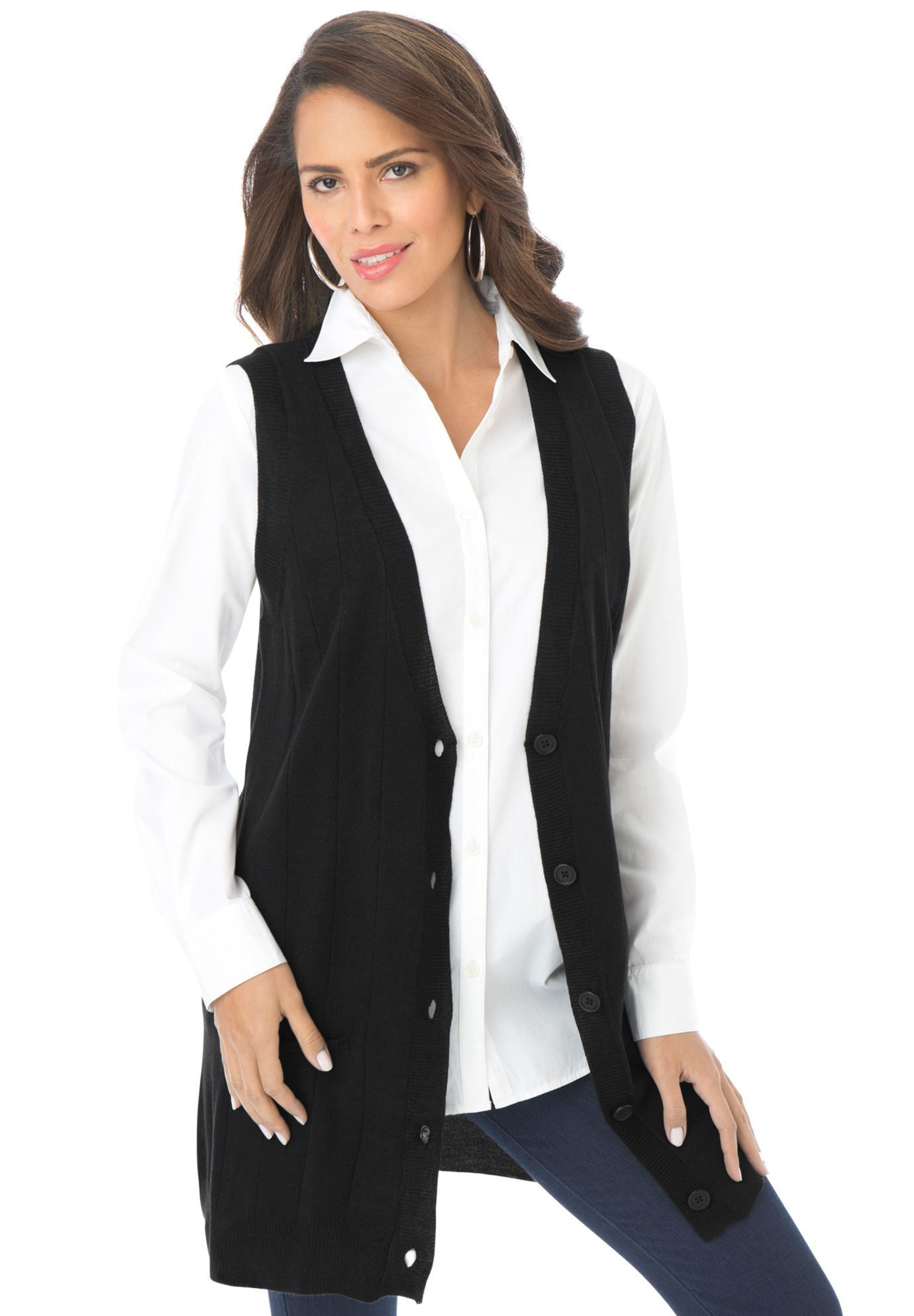 Fine Gauge Long Sweater Vest. Like this look. White shirt with ...