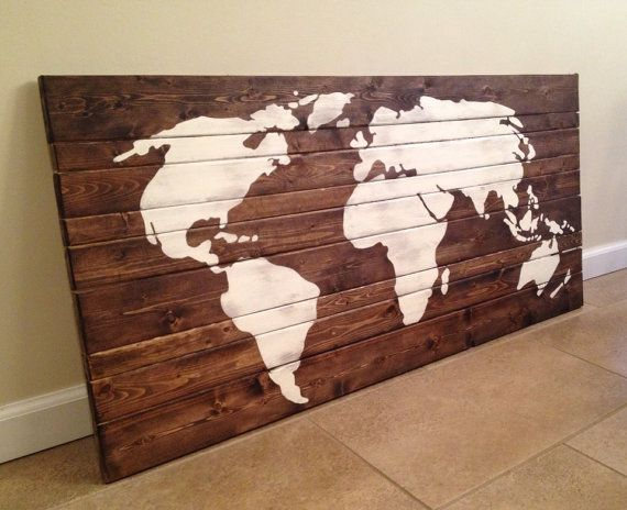 World Map Wood Wall Art by MittenMadeDesigns on Etsy | Be Rooted ...