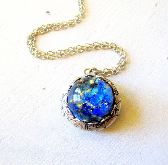 vintage opal fire blue pin lockets locket glass