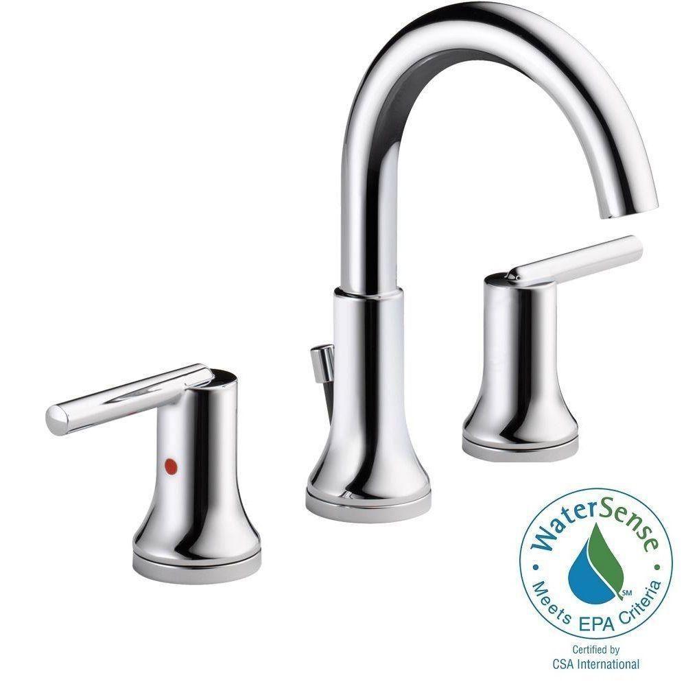 Delta Trinsic 8 in. Widespread 2-Handle Bathroom Faucet with Metal ...