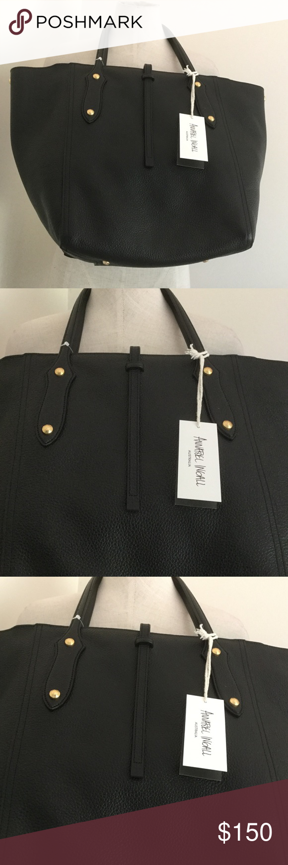 """e8ad1e05374 Annabel Ingall Bibi Tote Bag New Bag Pebble Leather Black Large Size 14 """"  Tall Shoulder carry Bags Totes"""
