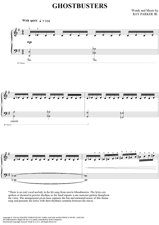 Ghostbusters Sheet Music by Ray Parker, Jr | Ghostbusters and ...