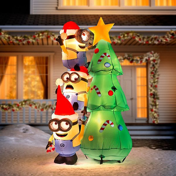 improvements 6 decorating minions christmas inflatable 150 liked on polyvore featuring home - Christmas Blow Up Decorations Outside