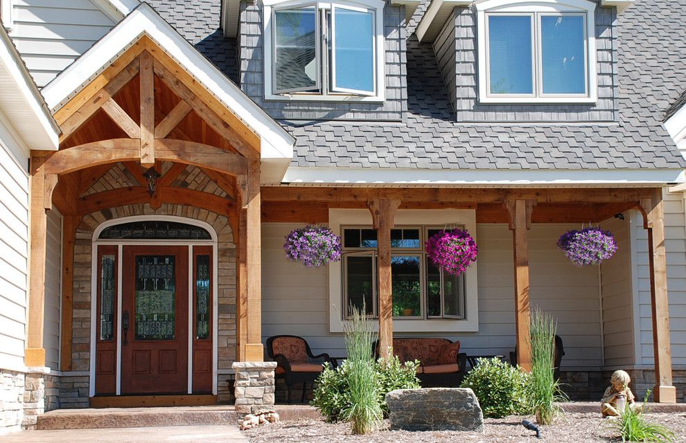 Rustic a frame gable roof and covered entry porch stained for Open beam front porch