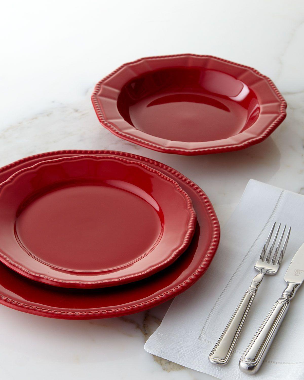 Neiman Marcus 12 Piece Red Bistro Dinnerware Service Red