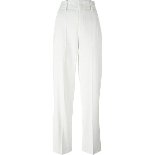 Isabel Marant high waist trousers ($205) ❤ liked on Polyvore featuring pants, highwaist pants, wide leg pants, white high waisted trousers, white pants and high waisted trousers
