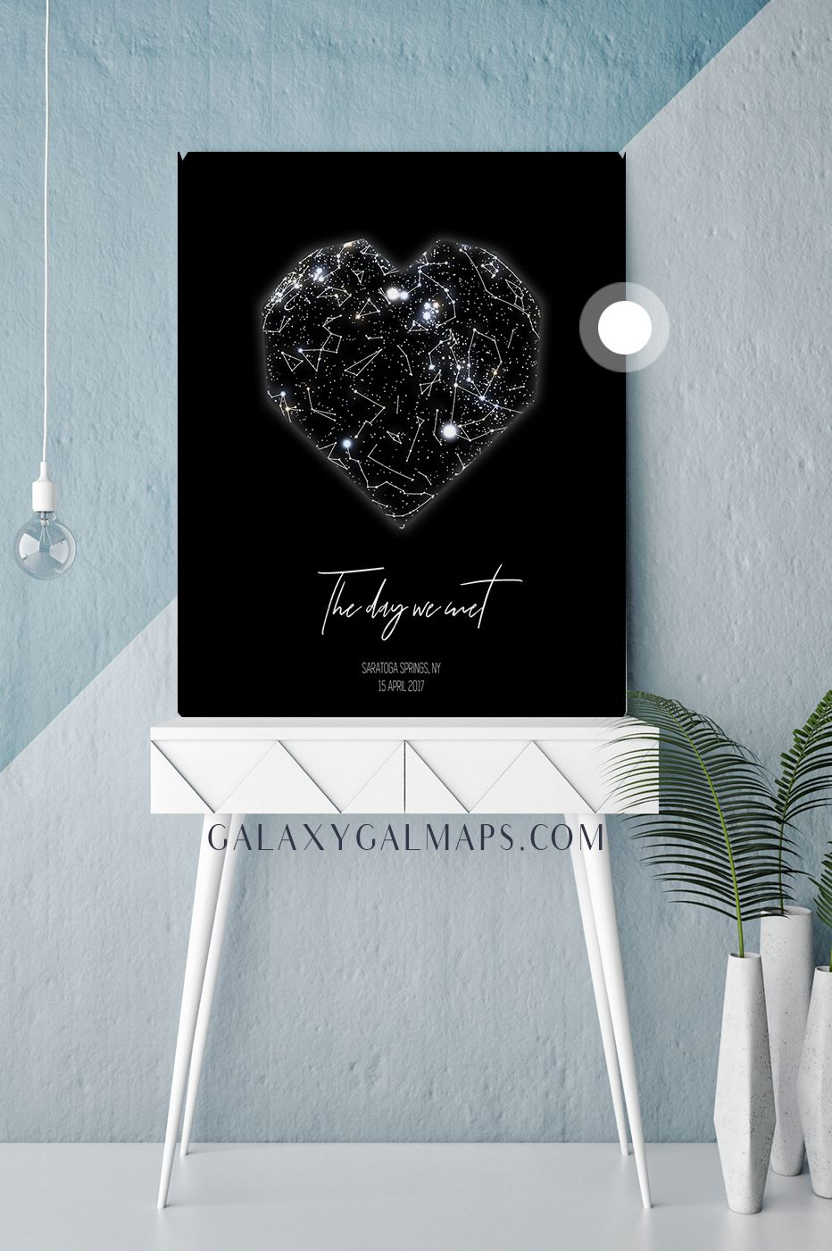 Unique sky map for your date full moon wall art pink skyblue