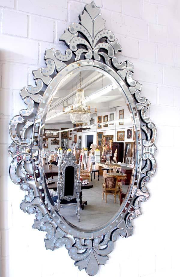 Miroir venitien 140x80cm baroque glace ovale sejour for Miroir venitien