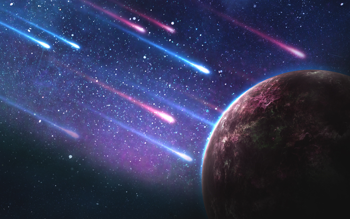 Download Wallpapers 4k Comets Galaxy Planet Stars Meteorites