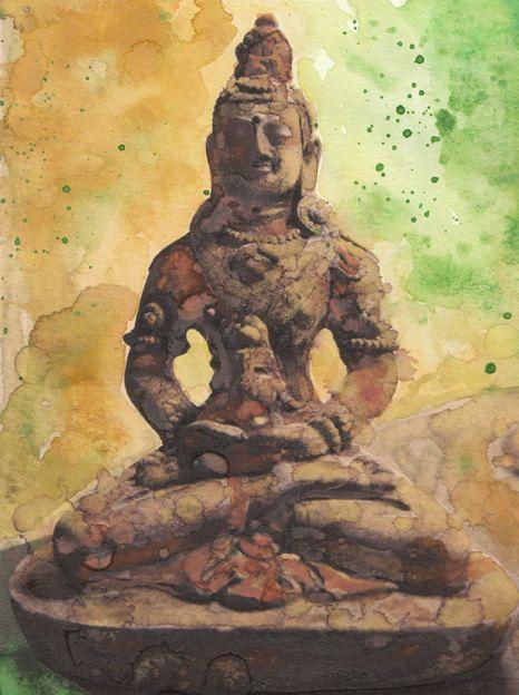 Buddhist Meditation Statue Original Fine Art by PowellArtAndDesign, $65.00