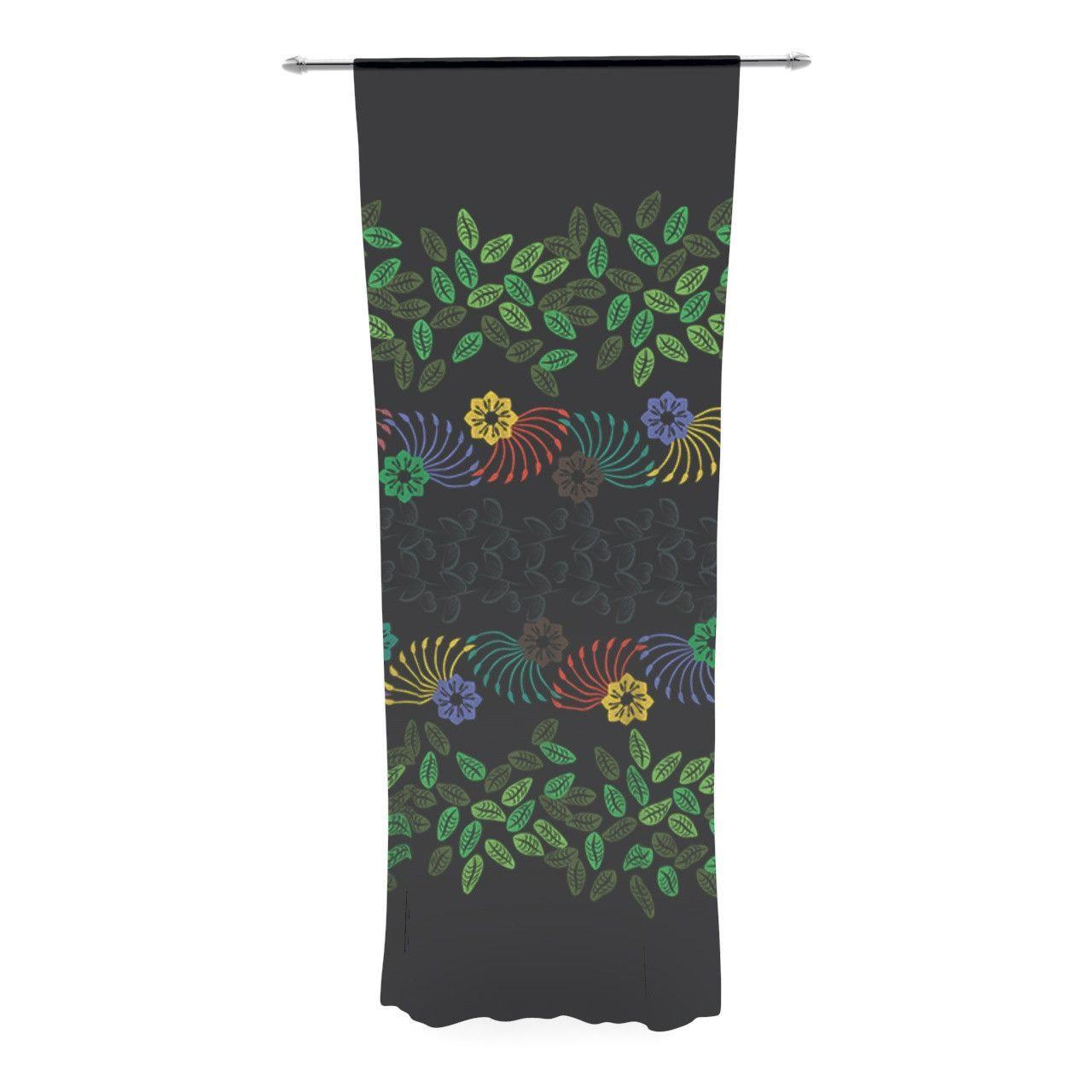 "Famenxt ""Dark Jungle Pattern"" Black Green Decorative Sheer Curtain"