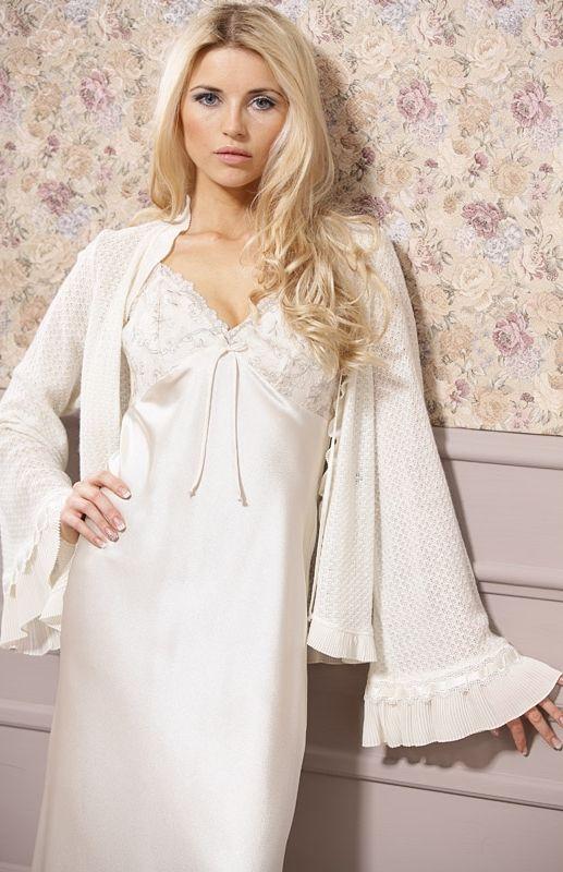 Favoris Superbe chemise de nuit longue en soie artificielle et dentelle  YL04