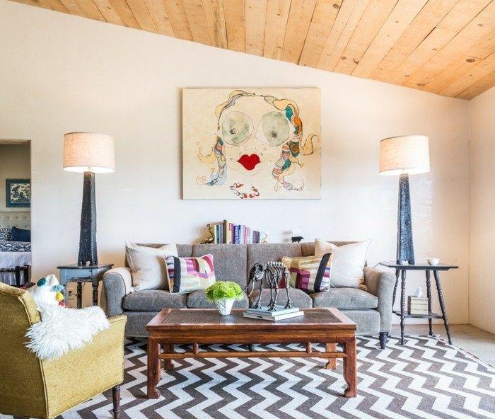 Holz Decke Moderne Einrichtung Ideen ? Usblife.info Wohnzimmer Ideen Mit Grauem Sofa