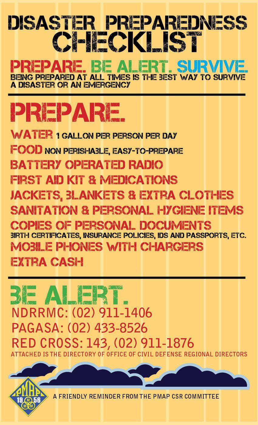 Disaster preparedness checklist prepare be alert