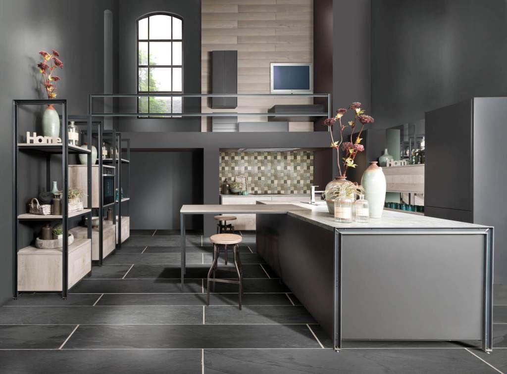Graue Küche Die 6 schönsten Ideen und Bilder - kücheninsel mit theke