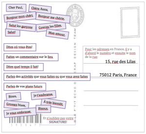 Formules pour écrire une carte postale   FLE   Pinterest   Time games, School life and Activities