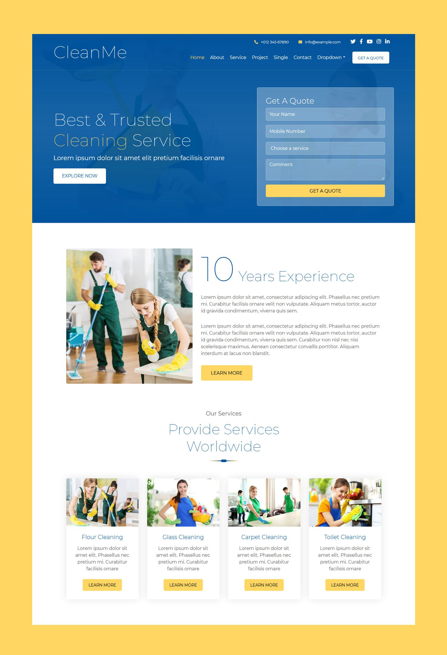 Cleanme Cleaning Company Website Template Website Template Free Website Templates Professional Website Cleaning services website template free