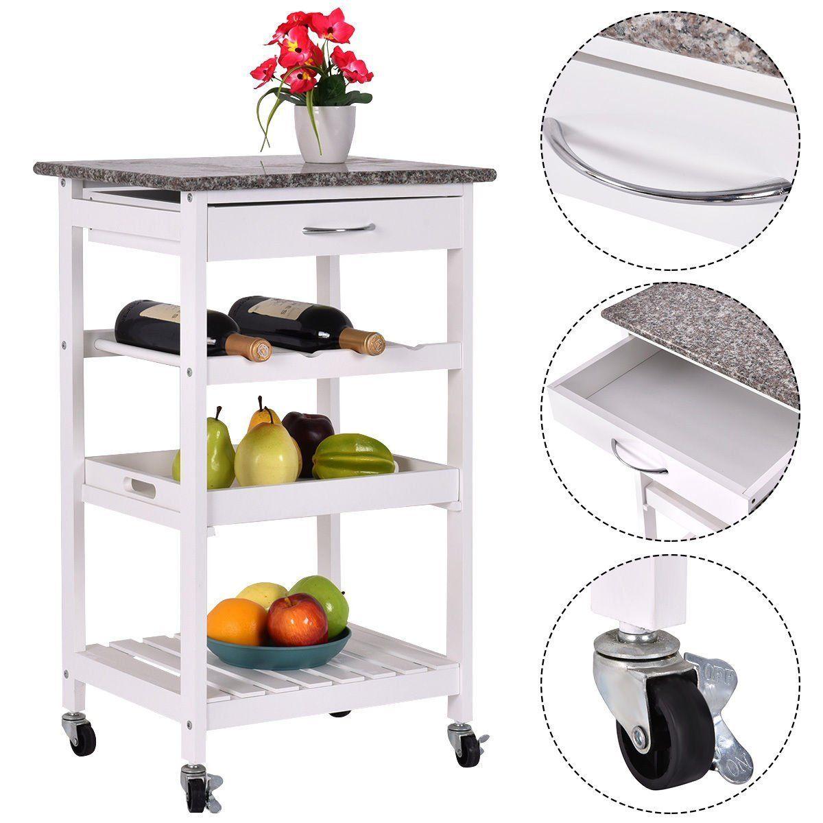 4-Tier Rolling Wood Kitchen Trolley Island Cart Storage Shelf Drawer ...
