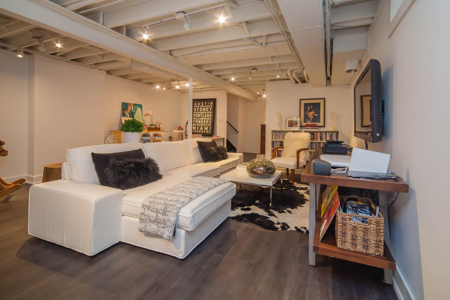 Loft style ceilings are a great way to add extra ceiling height.   Basementscanada.com 416-633-7180