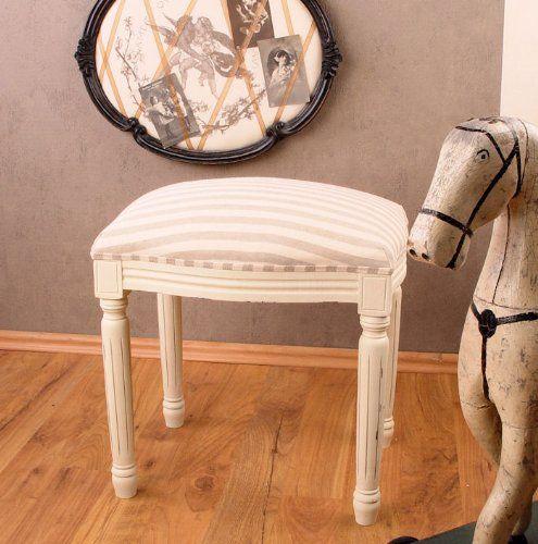 NOSTALGISCHER HOCKER IM LANDHAUSSTIL SITZHOCKER WEISS Wohnzimmer - wohnzimmer weis shabby